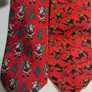 Christmas ties - Santa / tree - poinsettia flowers